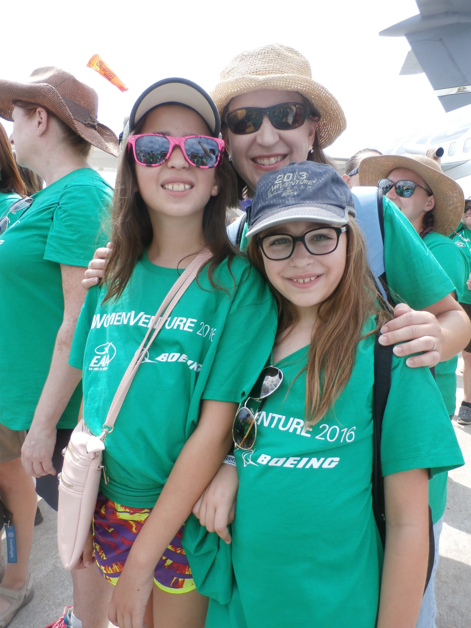 Mother and daughters join over 1,000 others to celebrate women in aviation. Image: Kathryn Creedy