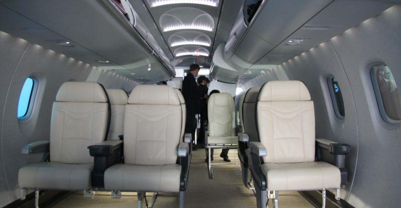 Inside the Mitsubishi MRJ cabin mockup at the Farnborough International Airshow 2016