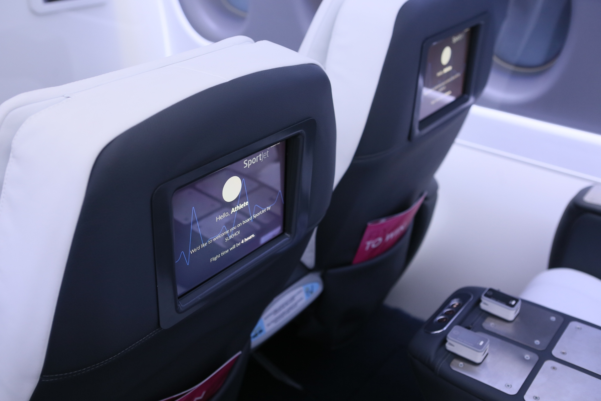 Each seat comes with a personal greeting for the player and much more. Image: Sukhoi