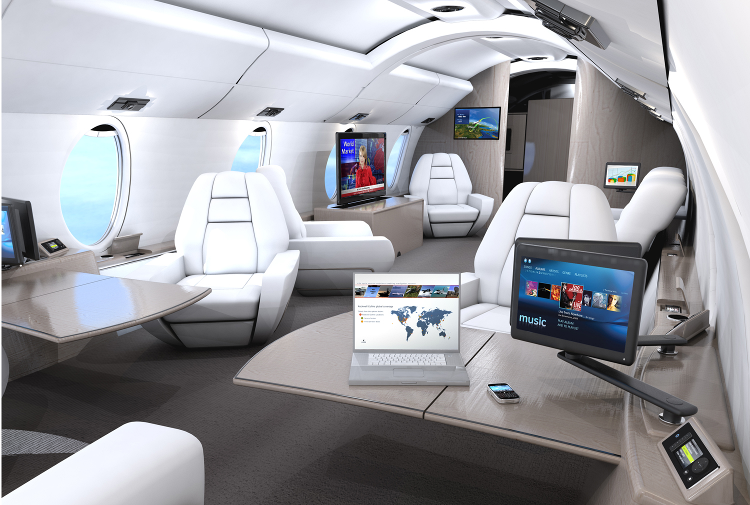 Rockwell Collins Venue™ HD cabin management and HD entertainment system is scalable to a broad range of business aircraft, from King Airs to large VIP jets. Image and Caption: Rockwell Collins