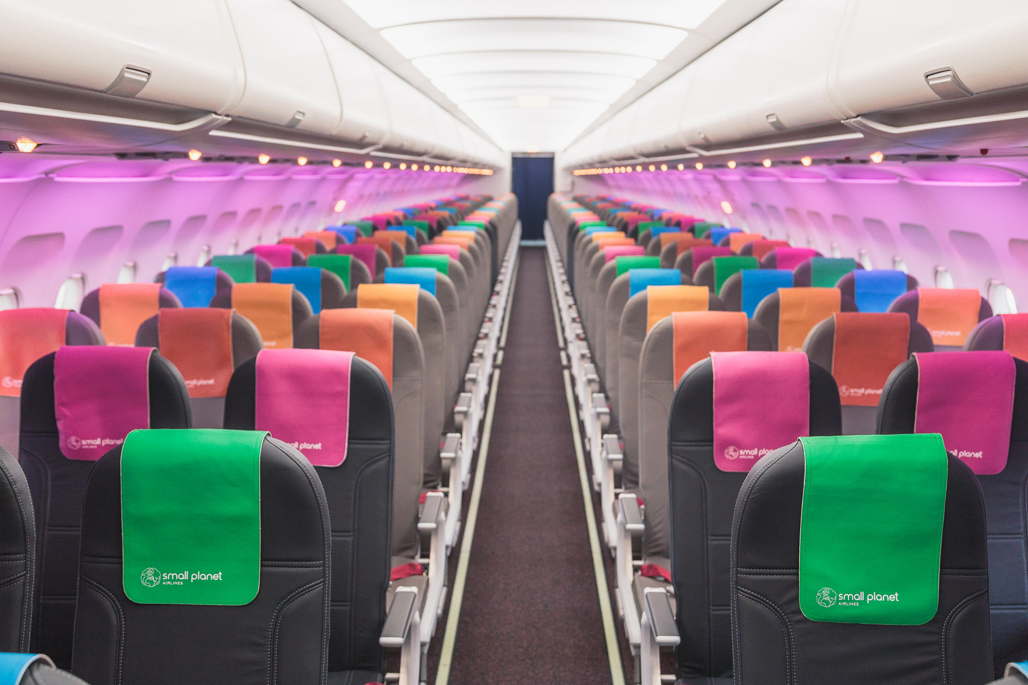 Small Planet Airlines displays many colours of LED lighting. Image: Small Planet Airlines
