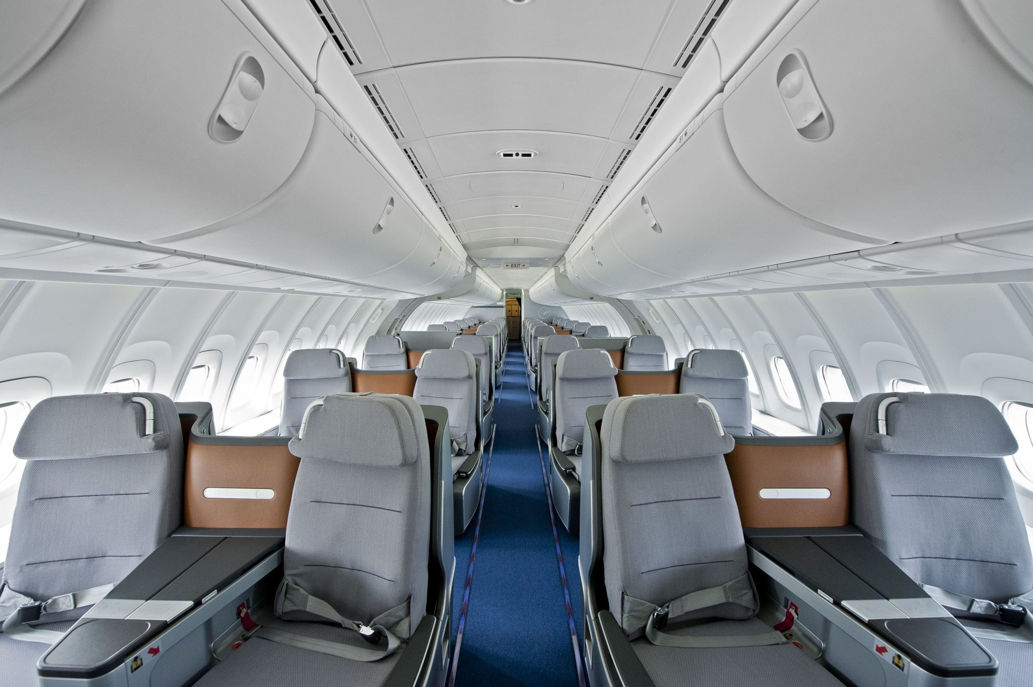 Lufthansa business class on the 747-8 is found upstairs and in the main body. Image: Lufthansa