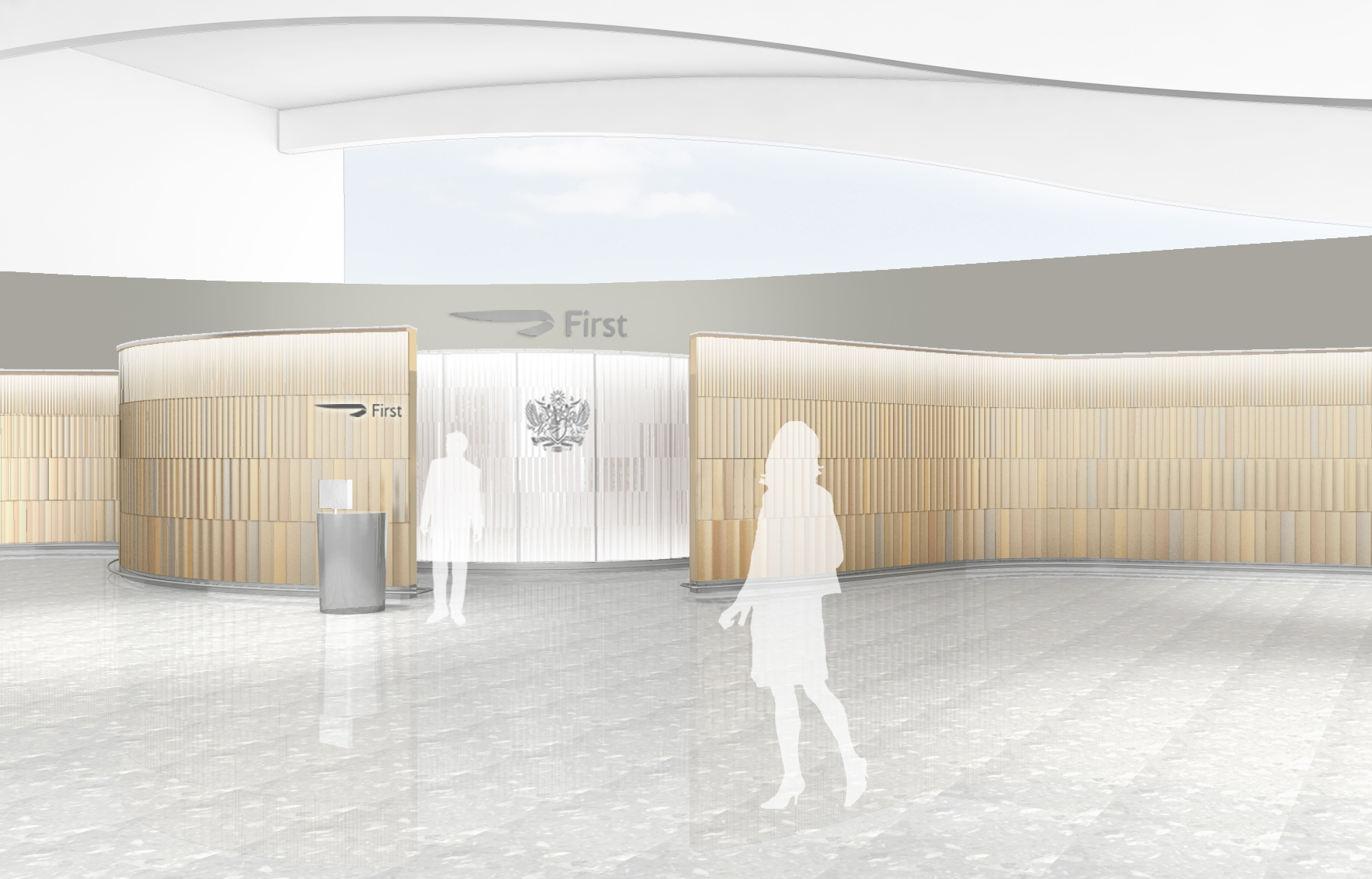 On the termincal side, BA's First zone will be walled off with a wooden facade. Image: British Airways