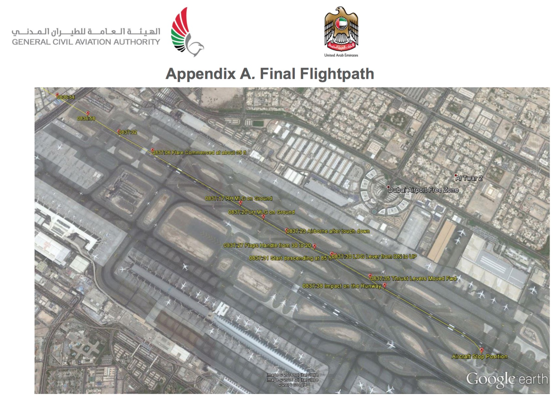 Flightpath of EK521. Image: GCAA Report