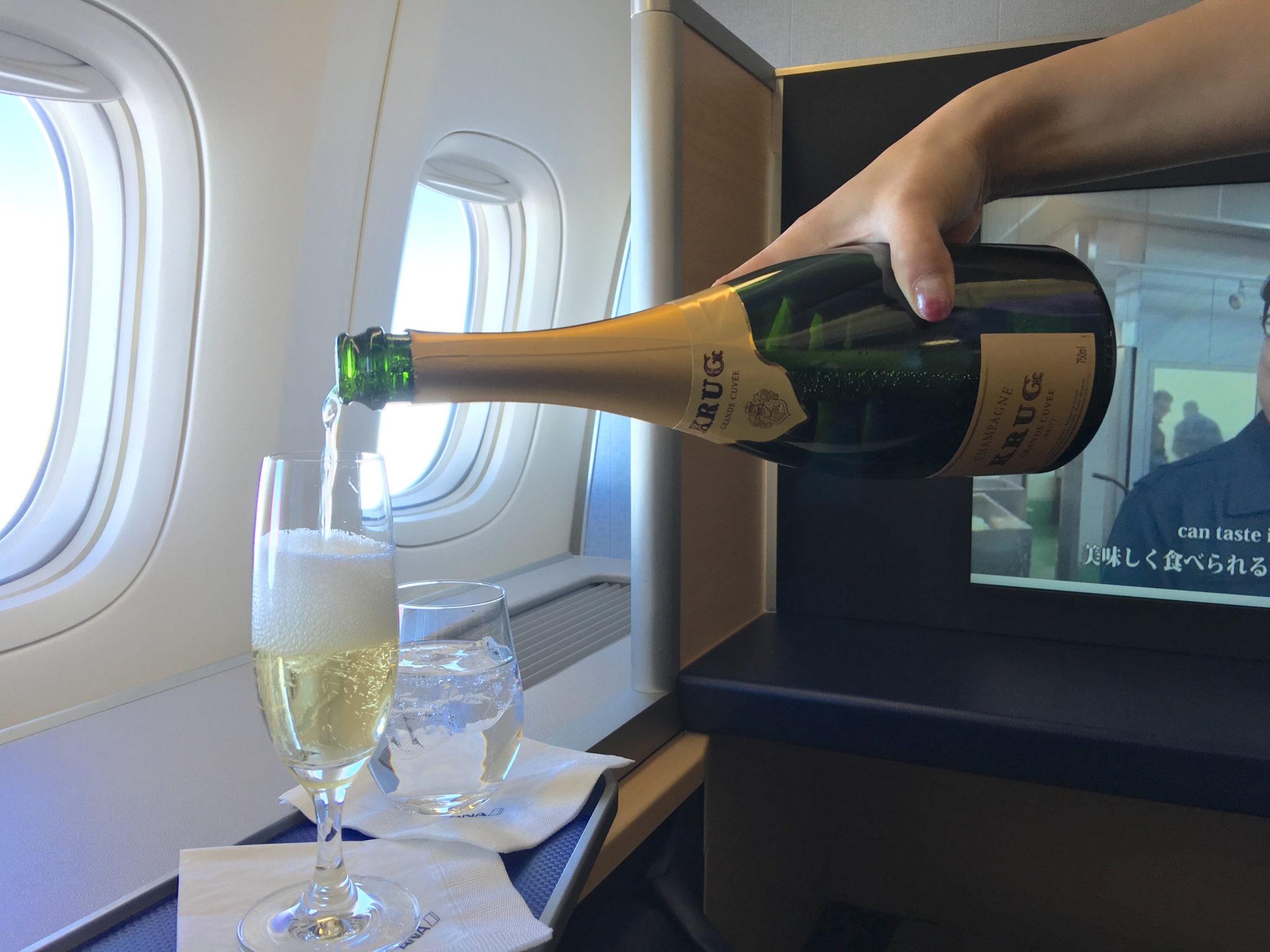 ANA's house first class Champagne is Krug. Image: John Walton