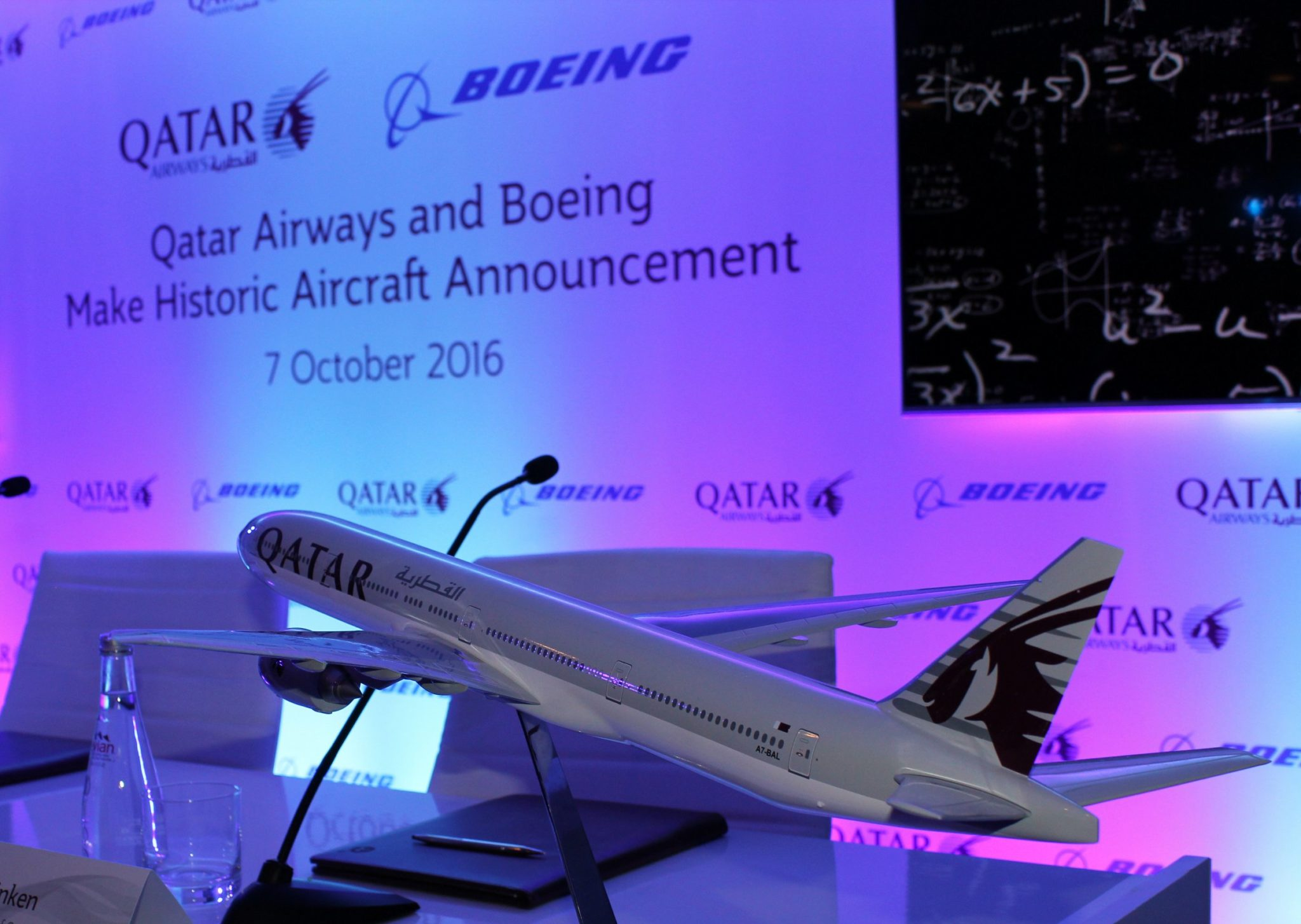 A Qatar Airways 777-300ER model at the order announcement ceremony