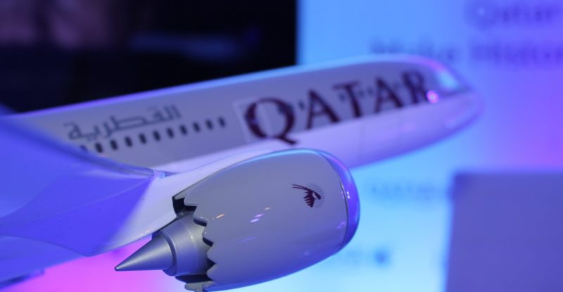 A Qatar Airways 787-9 model at the order announcement ceremony
