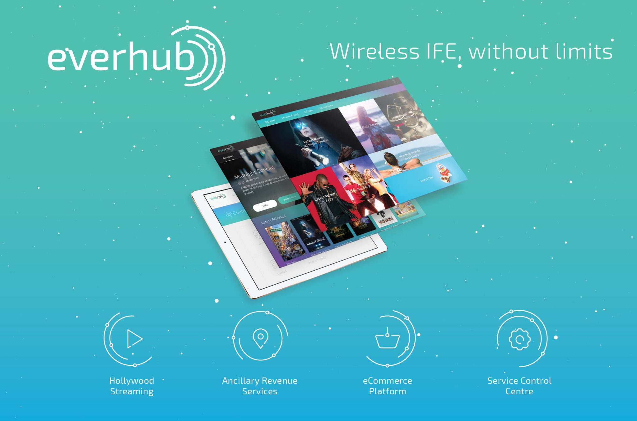 Everhub is a multipurpose wireless IFE solution. Image: Inflight Dublin