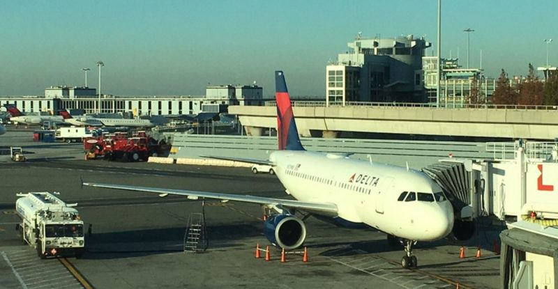 A Delta aircraft at the gate with 2Ku installed