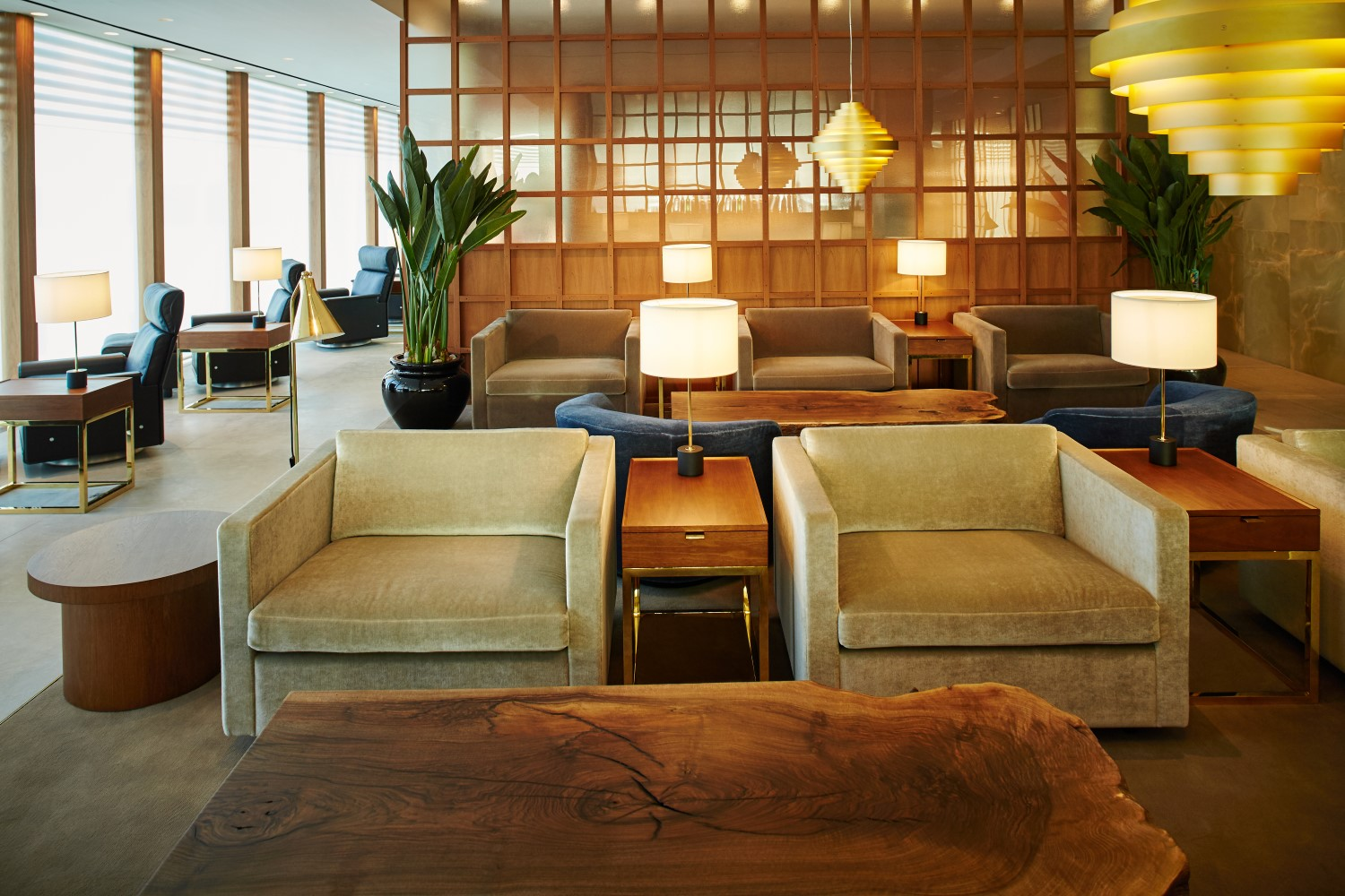 . Cathay s much delayed LHR lounges go full mid century modern