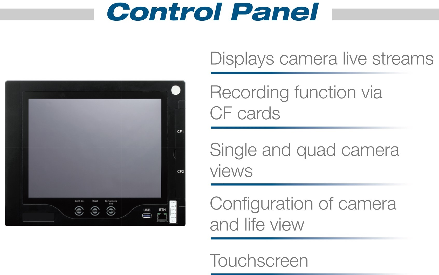 The system can either be intergrated into existing cabin management panels or controlled seperately.