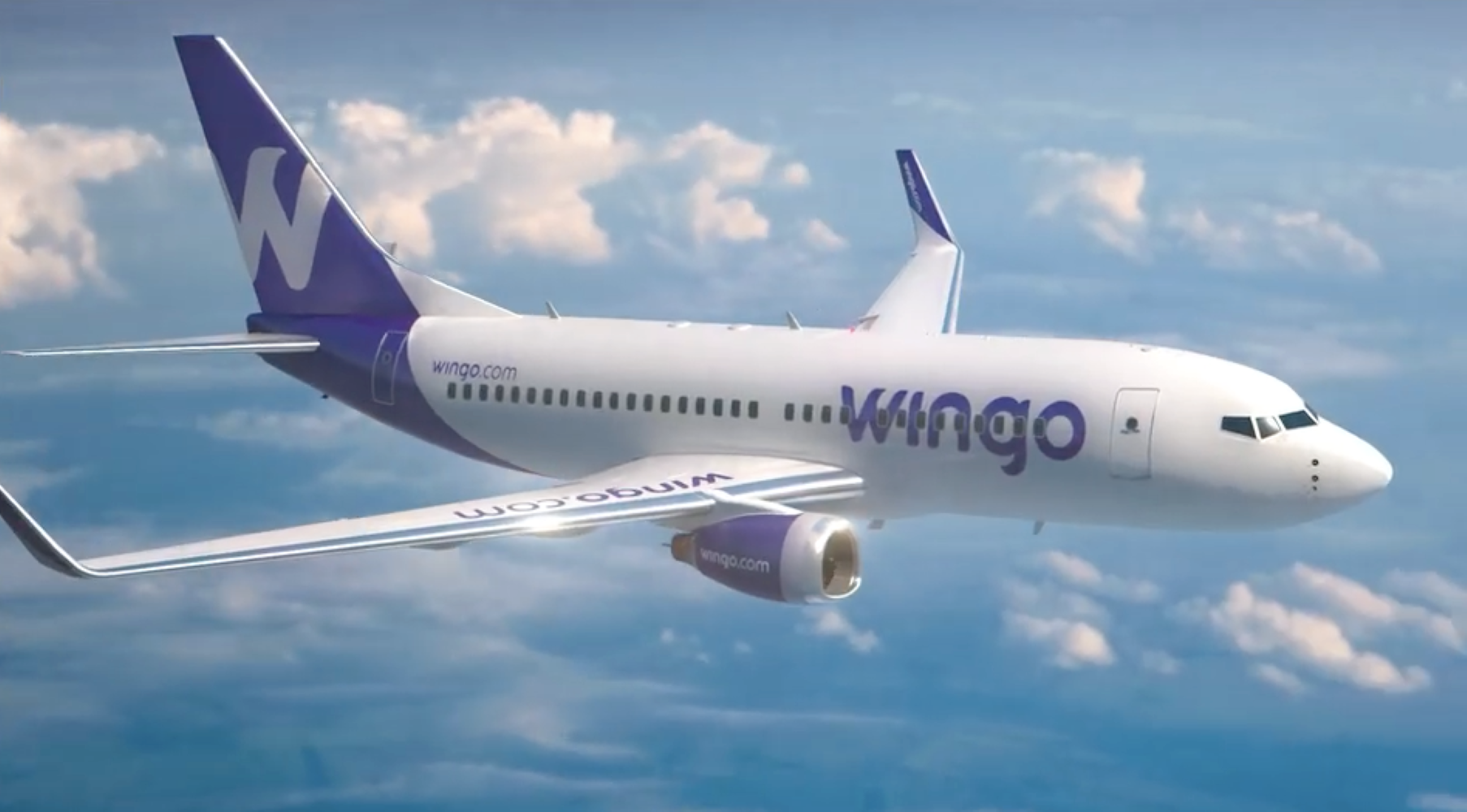 This is a computer graphic image of a Boeing 737-700 in Wingo's livery. Wingo is launching operations with four ex-Copa Airlines Boeing 737-700s, each of which will be configured to seat 142 passengers. Wingo will offer extra-legroom seating at the front of each 737-700's passenger cabin and at each emergency exit. Image: Wingo