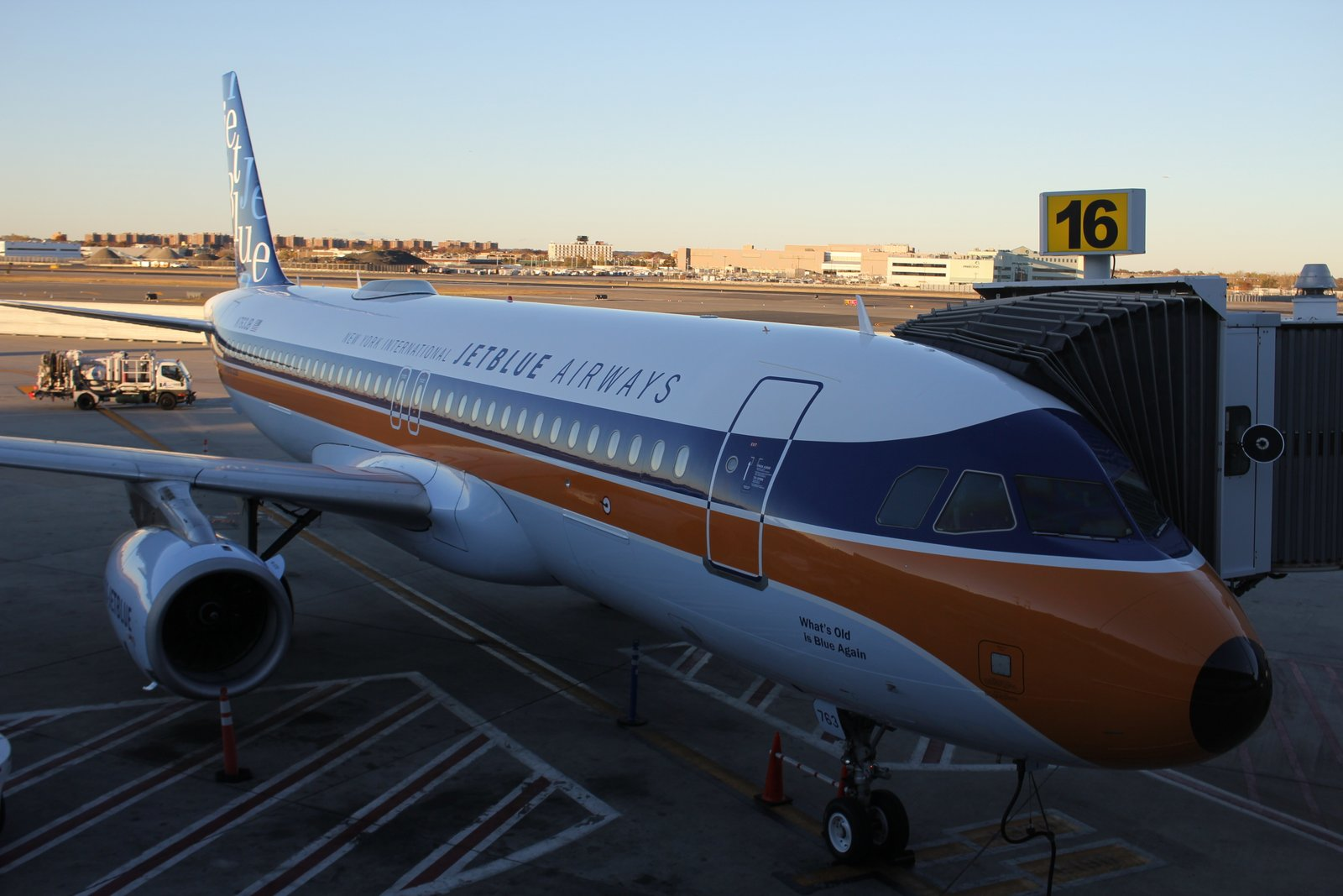 The JetBlue retro-jet on the gate at JFK before its official launch flight to Palm Springs last Friday