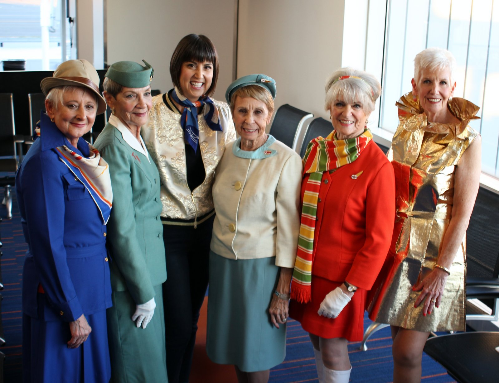 Former TWA flight attendants (and Palm Springs-based designer Trina Turk) after the pre-flight fashion show