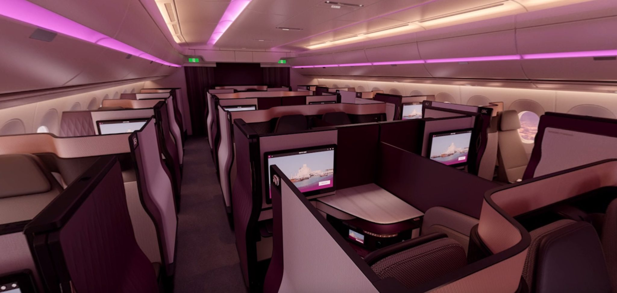 qatar fires across etihad 39 s bows with four person qsuite runway girlrunway girl. Black Bedroom Furniture Sets. Home Design Ideas