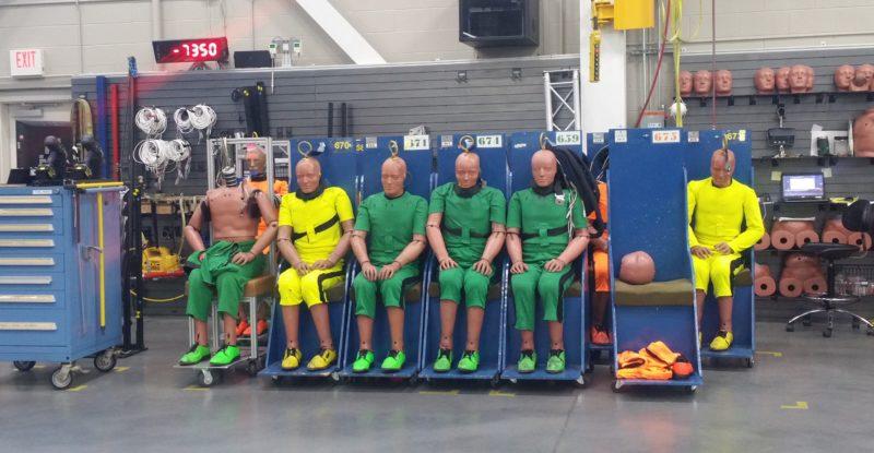 Crash test dummies await their turn on the sled