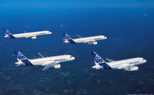 Airbus' A320 family of aircraft - the A318, A319, A320 and A321 - in-flight