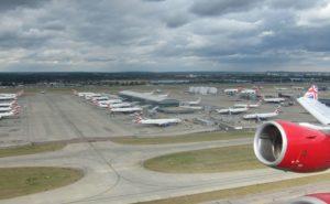 An aircraft takes off at Heathrow