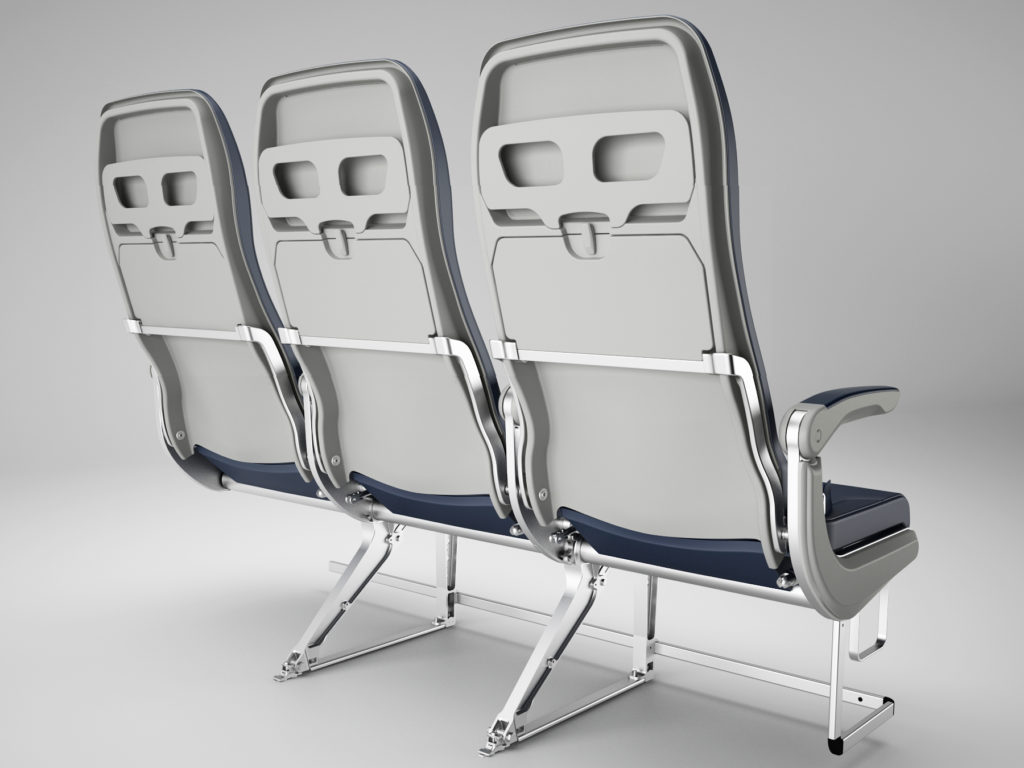 An Essenza seat triple, as ordered by Flynas, pictured from behind