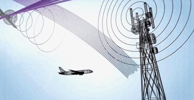 digital rendering of signal now givng off a wifi signal with an aircraft flying past