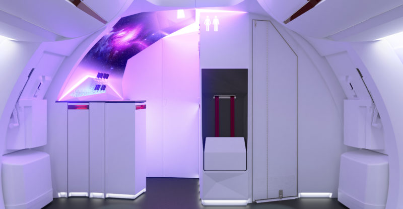 A Diehl concept cabin which reimagines the front of the aircraft, and includes LED lights and projector technology