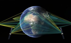 Earth in orbit with satellite beams directed towards it.