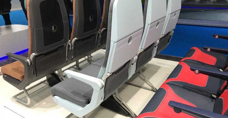 Rows of Mirus slimline seats on the show floor