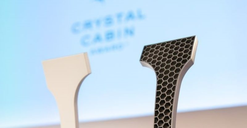 Two Crystal Cabin Awards waiting to be distributed at the CCA ceremony in Hamburg