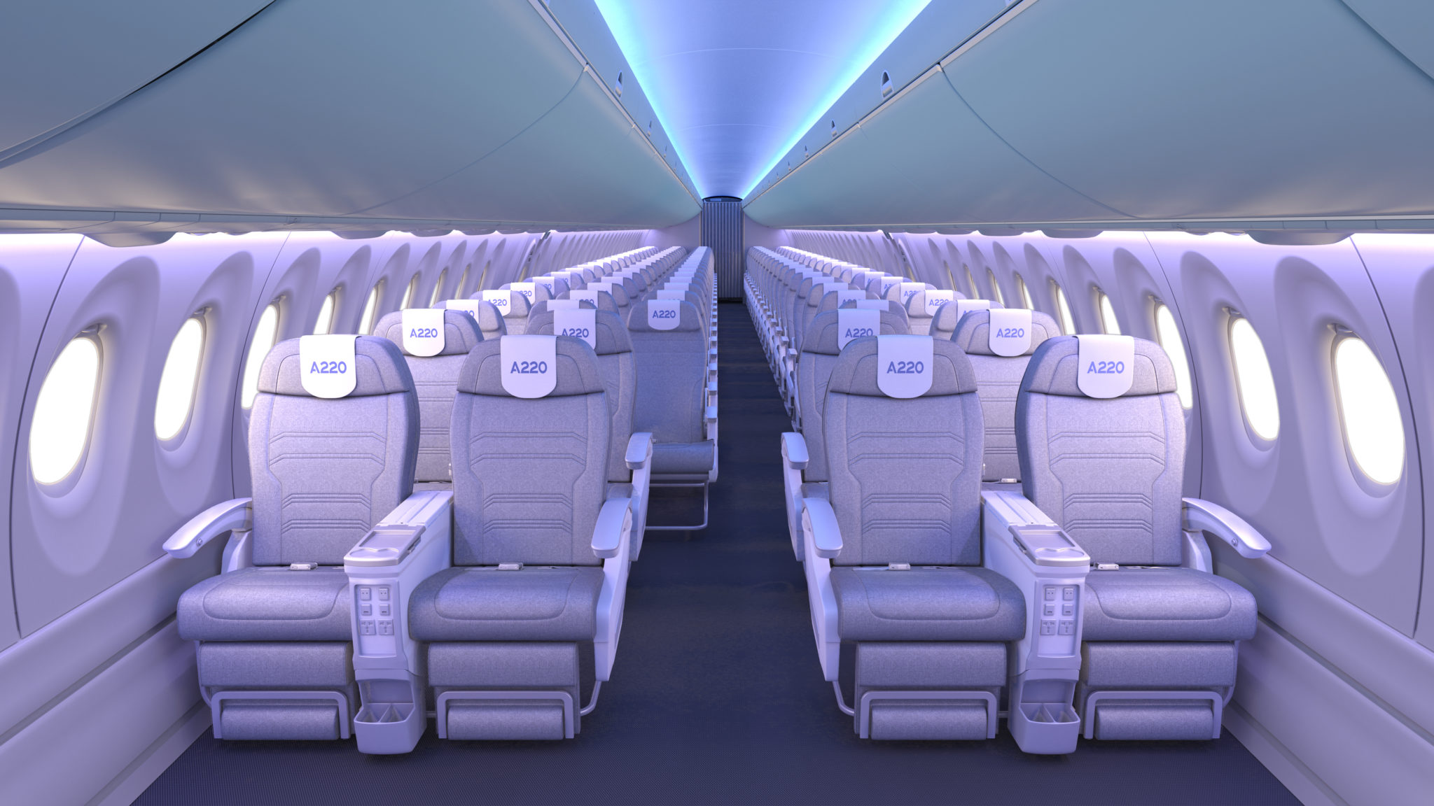 """Airbus leaving off the """"I"""" for """"Innovation"""" on A220 cabin"""