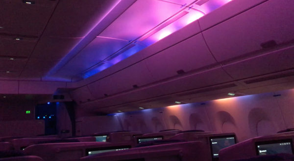 A lighting scheme created by LIFT Strategic Design for Philippine Airlines' A350, showing pink, blue and orange LED light.