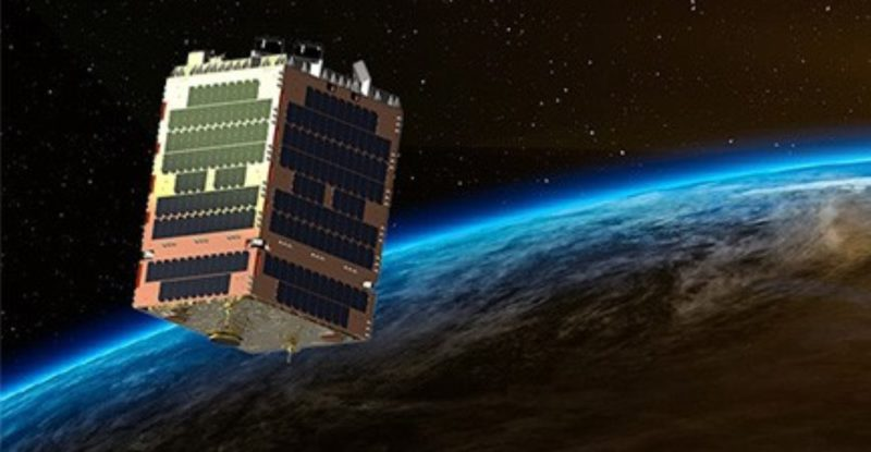 Telesat Phase 1 LEO Satellite in orbit above the earth, with antenna support,