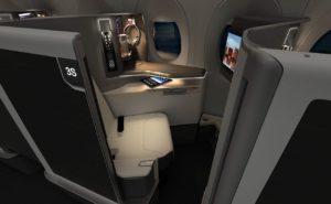 An image of Safran's new Versa premium class seat with privacy door