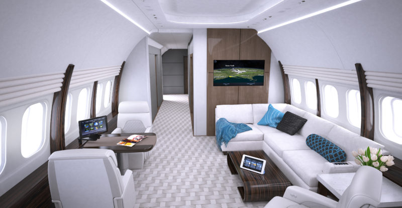 Business aircraft interior Collins' best-selling Venue CMS includes touchscreens featuring Airshow moving maps among other content possibilities, all operating off a fiber-optic backbone. Image: Collins Aerospace