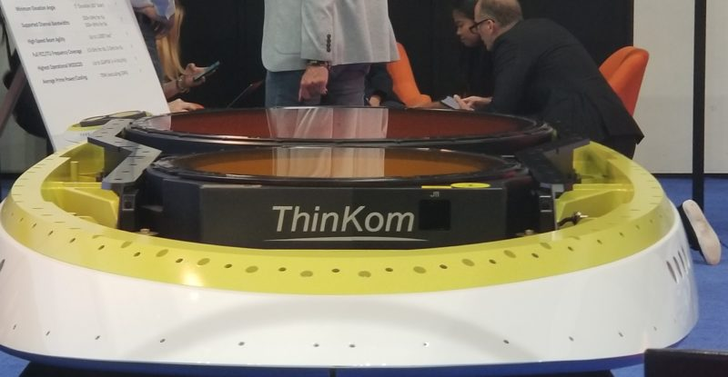 The ThinKom VICTS antenna, which is lower profile but still heavy. It includes multiple spinning disks.