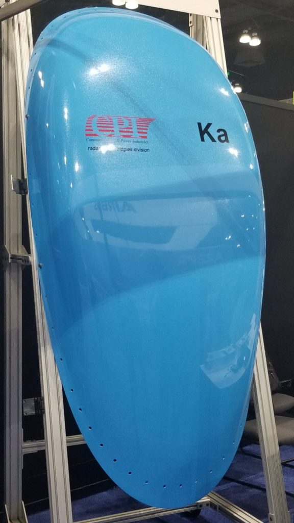 """A Ka-only antenna radome in blue, with the words """"CPI"""" and """"Ka"""" on it"""