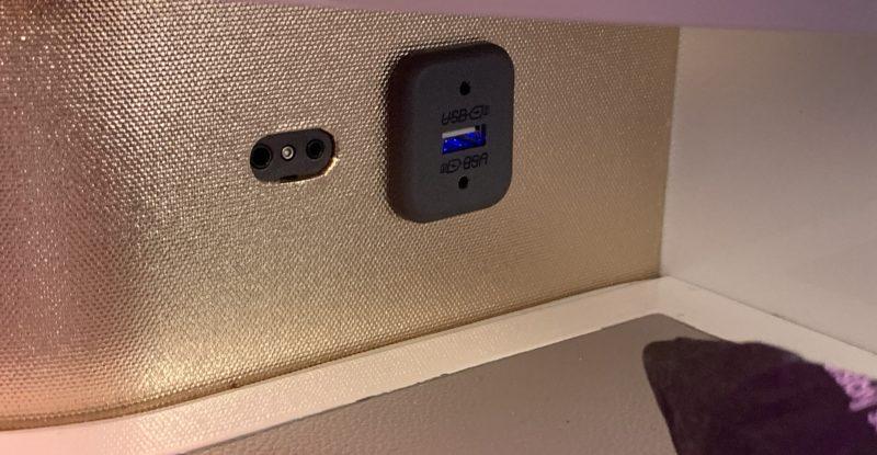 USB-A charging port on Virgin Atlantic