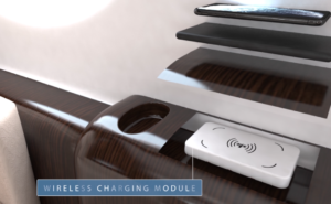 Wireless charging module showing how the phone can be placed on top to charge