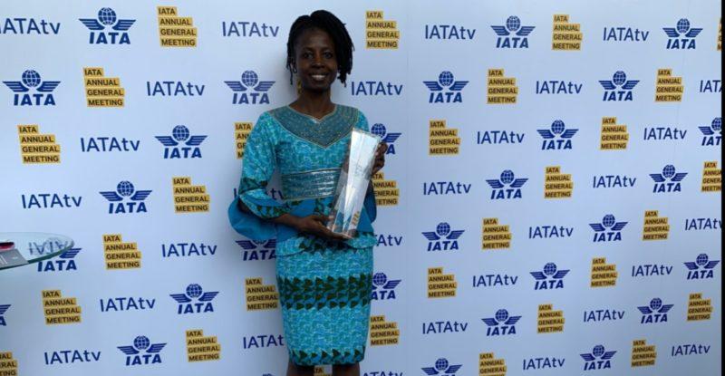 Fadimatou Noutchemo Simo posing with award at IATA background