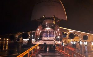 Container within Antonov carrying Thales Alenia Space-made satellite for Inmarsat