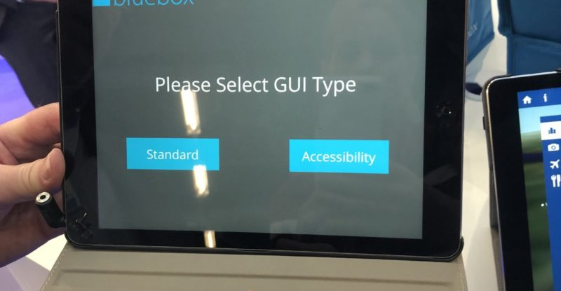 Accessible IFE from Bluebox, as demoed at an expo