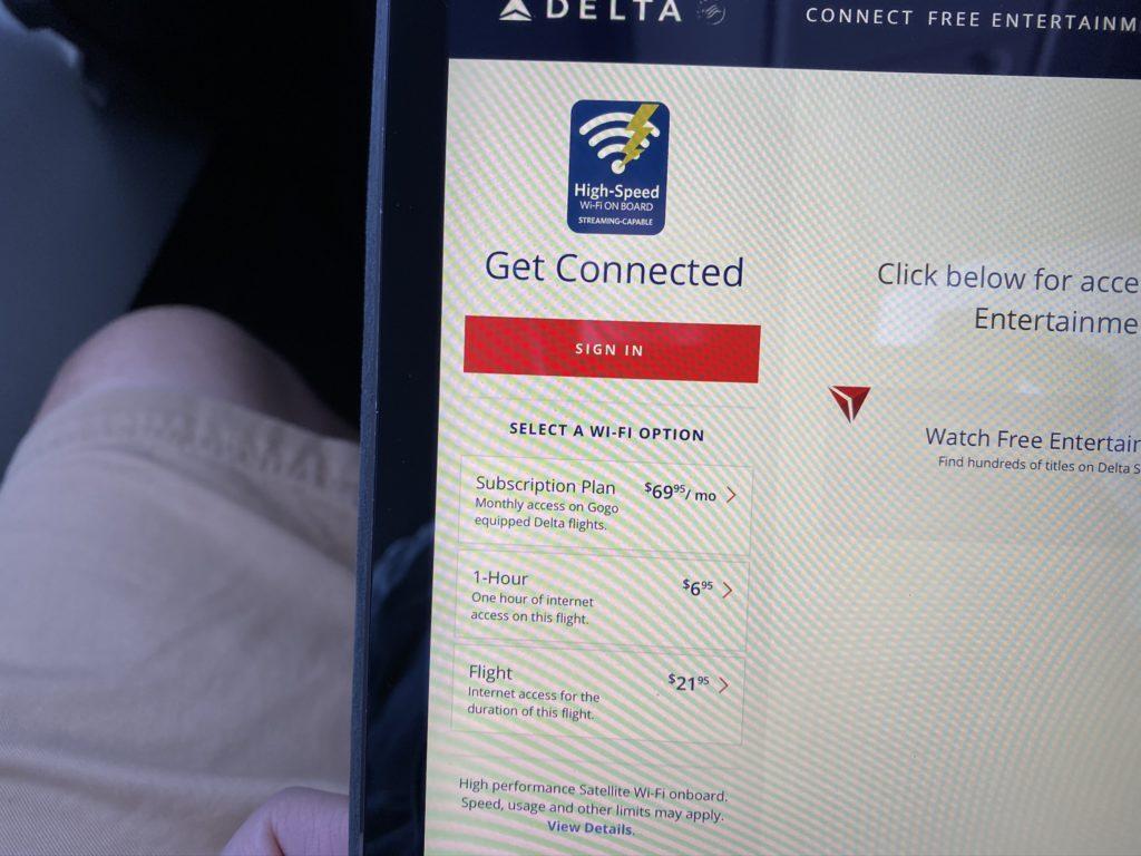 price list for connectivity on delta gogo 2ku