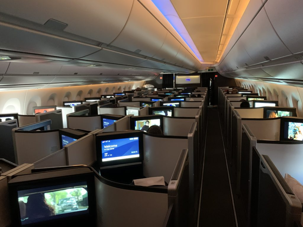 Moodlighting in the business class cabin on BA aircraft