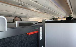 British Airways Business class suite door close up showing emergency handle