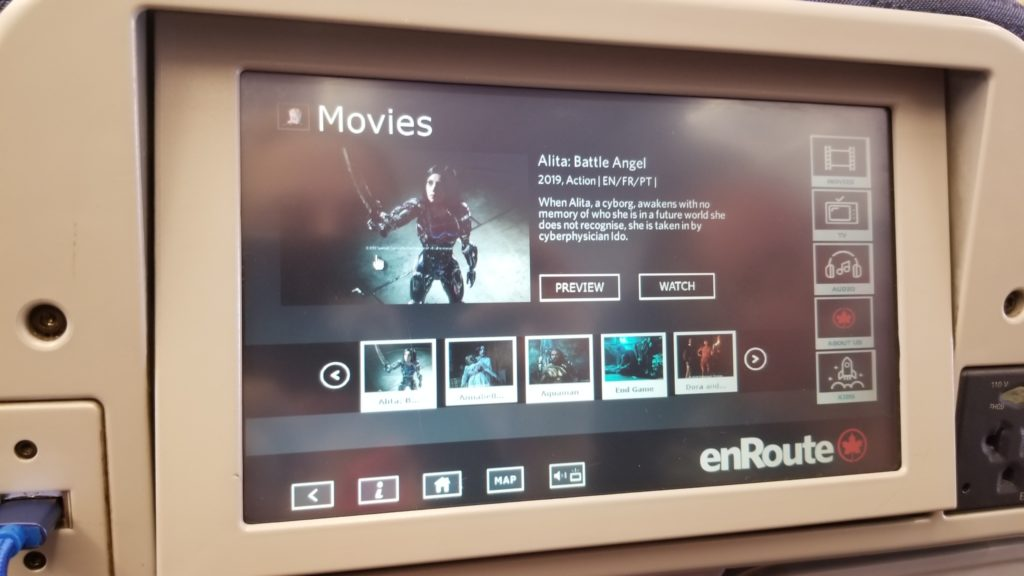 seat back ife showing moving selection