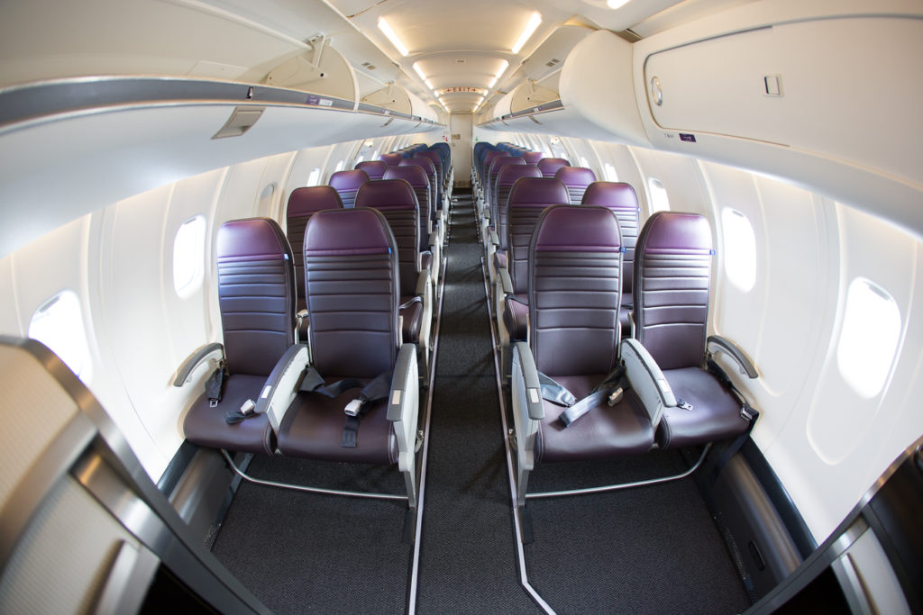 United's CRJ550 INTERIOR with a fish eye lense