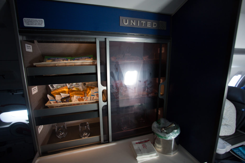 United Airlines' self-serve bar on the CRJ550