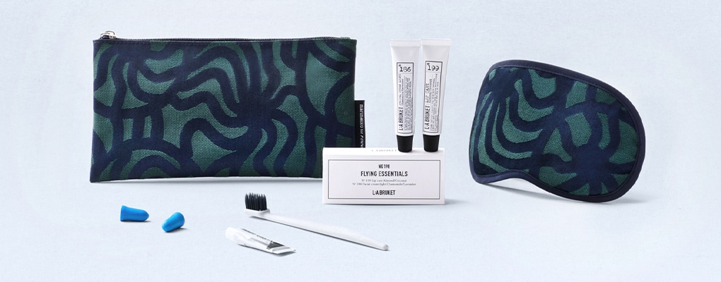 Finnair's Marimekko sustainable amenity kits include skincare, an eye mask and dental supplies