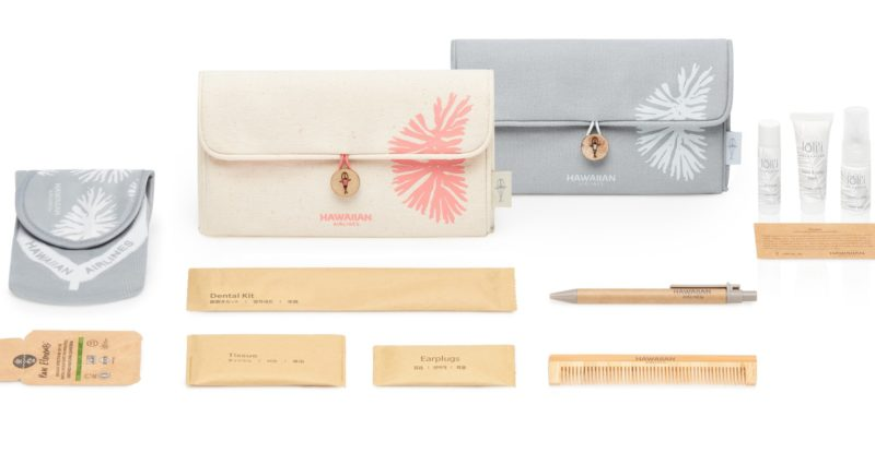 Hawaiian Airlines sustainable canvas clutch amenity kits Business Class. Image: Hawaiian Airlines