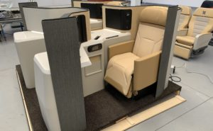 Business class seat on the show floor for display