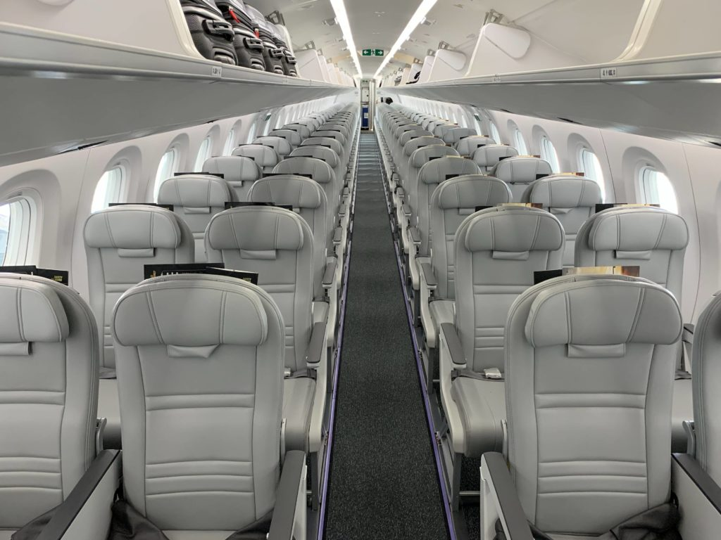 E195-E2 economy cabin, with several variteies of seats and pitches